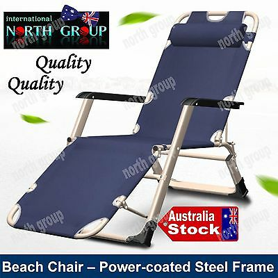 Folding Portable Recliner Beach Chair Bed For Indoor Outdoor Backyard Pool-Side