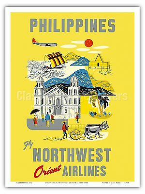 Philippines Vintage Airline Travel Art Poster Print