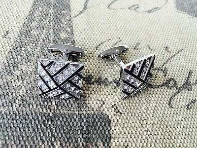 Men's Silver & Crystal Stainless Steel Square Wedding Shirt Cuff Links Cufflinks