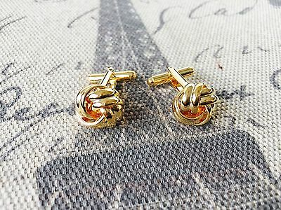 Men's Round Gold Color  Knotted Wedding Shirt Cuff Links Cufflinks