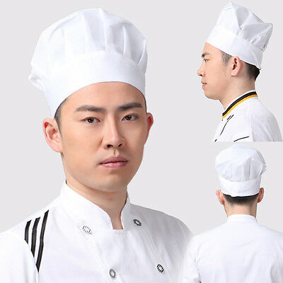 Chef Hat ONE SIZE Fit All Elastic White Cap Cooking Baker Kitchen Restaurant PO