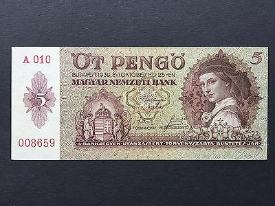 Hungary 5 Pengo P106 Dated 1939 Uncirculated UNC
