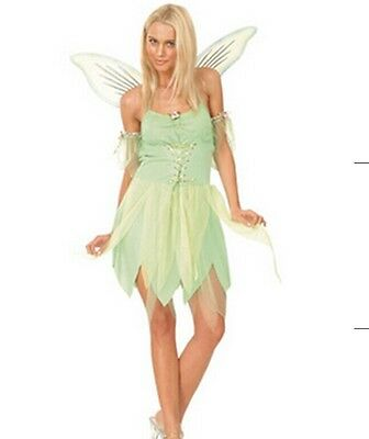 Womens Woodland Fairy Sprite Pixie Tinkerbell Costume Party Cosplay Fancy Dress