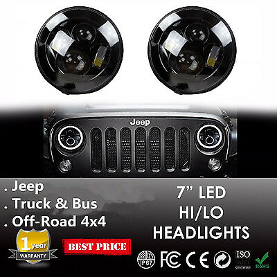2PCS 7inch CREE ROUND LED HEADLIGHT H4 Black FOR JEEP WRANGLER