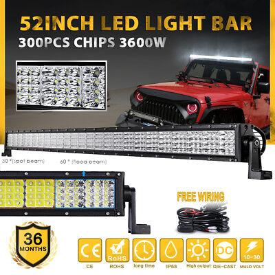 """52"""" Inch 1800W LED Light Bar Curved Spot Flood Offroad Work Driving 4WD 42""""/50"""""""