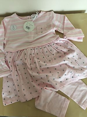 Girls 5-6 Years Pink/White Stars & Stripes Tunic Top & Leggings Set*New With Tag