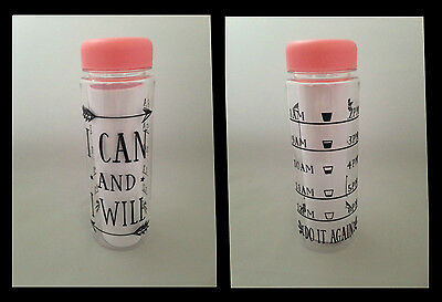 Motivational Water Bottle Hydration Tracker Fitness Quote PINK