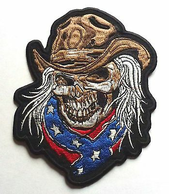 CONFEDERATE SKULL COWBOY RODEO - SEW IRON ON BIKER MOTORCYCLE PATCH 125mm x 95mm