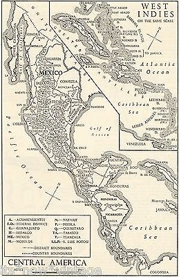 West Indies And Central America 1953, Vintage Black/white Sketch Map