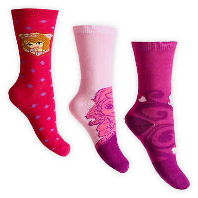 DISNEY SOFIA THE FIRST Kids Girls Triple Pack Ankle SOCKS Cotton-Rich Age 2-9