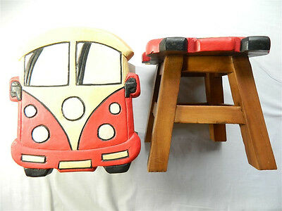 Childs Childrens Wooden Stool - Red Camper Van Step Stool