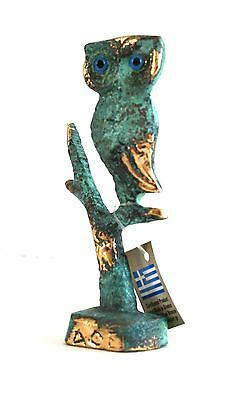Ancient Greek Bronze Replica Owl On Tree Green-Gold Oxidization 547