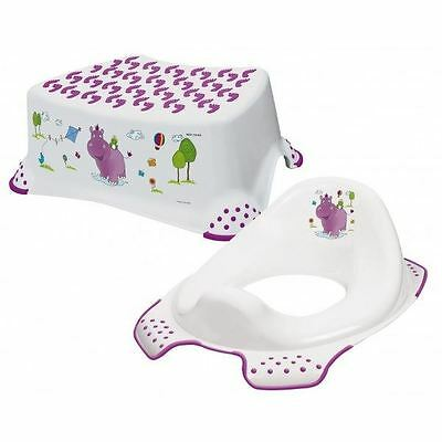 Happy Friends Hippo Step Stool + Toilet Training Seat Combo - White