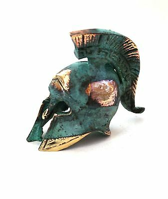 Ancient Greek Bronze Miniature Helmet Green Gold Oxidization 387