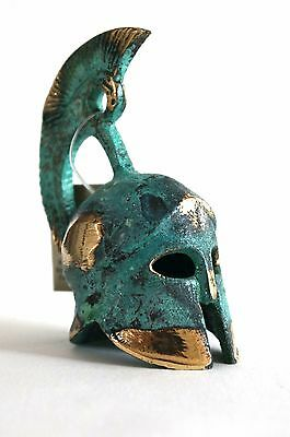 Ancient Greek Bronze Miniature Replica Helmet Green Gold Oxidization 385
