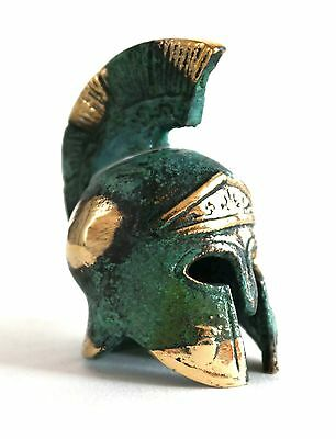 Ancient Greek Bronze Miniature Helmet Green Gold Oxidization 386