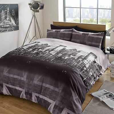 Duvet Cover with Pillow Case Bedding Set London Skyline Black Grey Union Jack