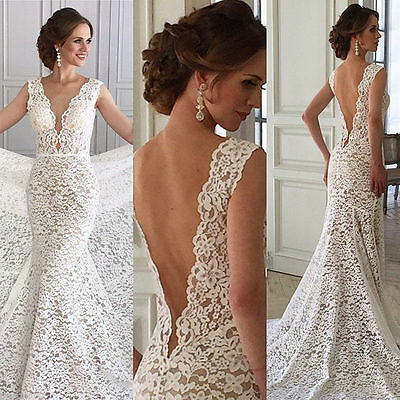 New White/Ivory Lace Wedding dress Bridal Gown Custom Size 6-8-10-12-14-16 18