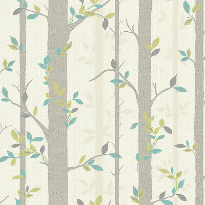 Modern Tree Branch Leaf Wallpaper Neutral Green Sale 871703 Free Delivery