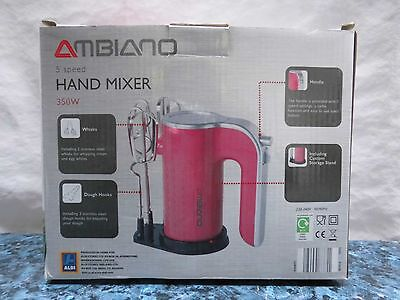 Ambiano 5 Speed Hand Mixer Whisk  Boxed - Pink - 350w
