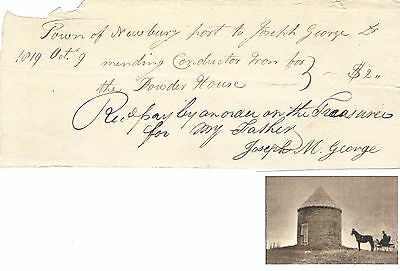 Early MA Documents Include Military Powder House Receipt; Federalist Autograph