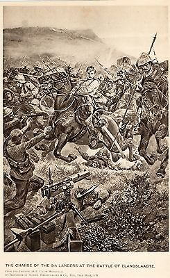 Antique Print, Battle Of Elandslaagte, Boer War, 5Th Lancers 1899