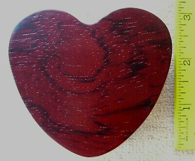 "Burgundy red wood heart shaped jewelry box velvet lined 3 1/8"" x 2 7/8"" NEW"