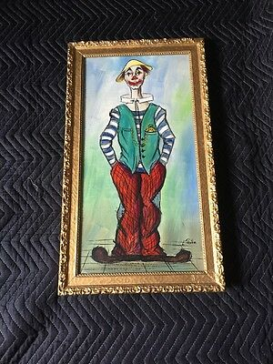 20th Century Early Clown On Canvas Linen Plaster Frame? Rare L.petra Shabby Chic