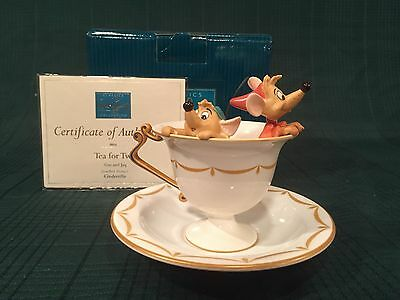 "WDCC Cinderella Gus & Jaq ""Tea for Two"" + Royal Daulton Saucer Plate New in Box"