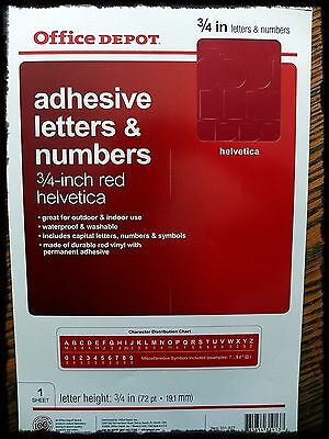 """3/4 """" Inch Red Adhesive Letters Helvetica Permanent"""