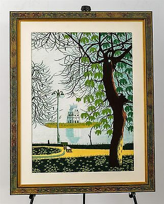 Beautiful Vintage Silk Embroidery Willow & Bench River Scene Hand Sewn Framed
