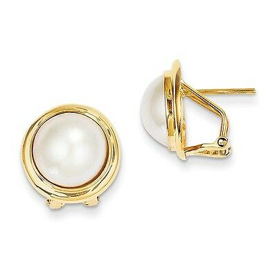 14k Yellow Gold 10-11mm Cultured Mabe Pearl Omega Back Earrings (0.7IN x 0.7IN)