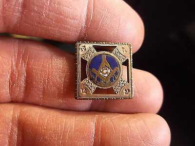 Rare Antique Masonic Cufflink, Rose Gold Plated/filled With Enamel, See Photos