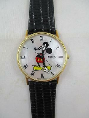 Beautiful Vintage Ladies 14k Solid Gold Mother of Pearl Mickey Mouse Watch, PK23