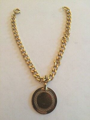 12k Gold Filled 1/20th Italian Style Medallion Charm Bracelet- Free Shipping
