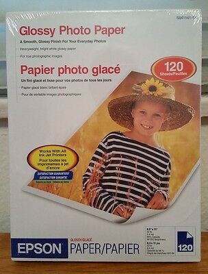 Epson Glossy Photo Paper 8.5 x 11 New in Sealed Package 120 Sheets - Ink Jet
