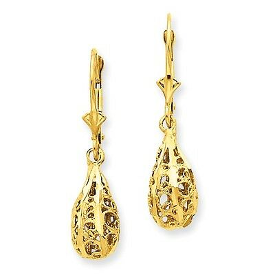 14k Yellow Gold Polished & Diamond Cut Filigree Dangle Lever back Earrings (9MM)