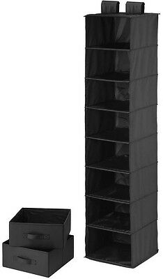 8-Shelf Black Polyester Vertical Closet Organizer With 2 Drawers Haning Storage