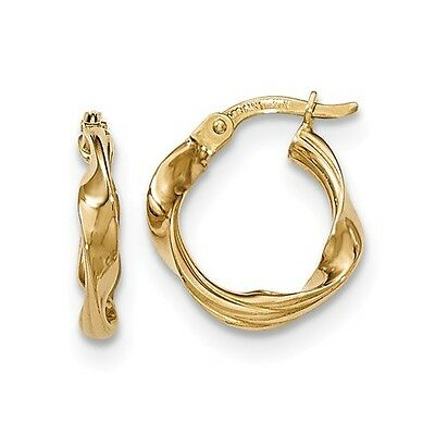 14K Yellow Gold Polished Twisted Hoop Earrings (1.2IN Long)