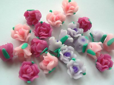 Beads - Polymer Fimo Clay Flowers 13mm Mauve, Pink, Cerise Mix x 20 beads