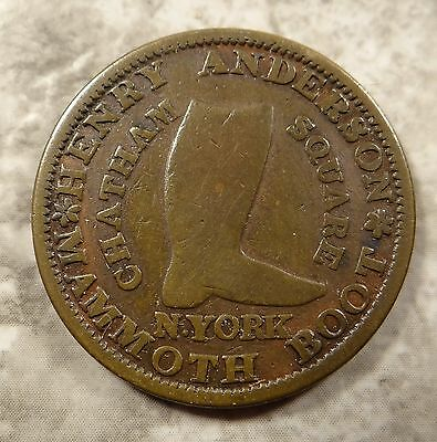 1837 Hard Times Token Henry Anderson Boot Dealer - New York Chatham Square