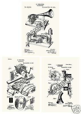 Berliner Gramophone Phonograph 3 patent Print Reproductions  for Framing