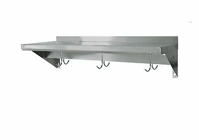 Stainless Steel Commercial Wall Mounted Shelf with Pot Rack 16X48