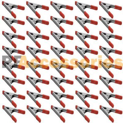 """40x 4"""" inch Metal Spring Clamps w/ Rubber Tips Tool 40 Pcs Lot Steel Red & Black"""