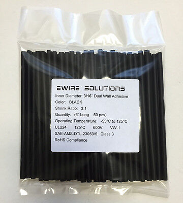 "3/16"" BLACK (6"" 50pcs) Dual Wall 3:1 Adhesive Polyolefin Heat Shrink Tubing"