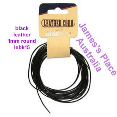 Black Leather  - Round - 1mm, 2mm, 3mm - Economy Packs
