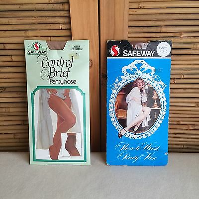 2X Vintage 70s/80s 'SAFEWAY' Brand SHEER Stretch PANTYHOSE ~ Sexy MODELS!