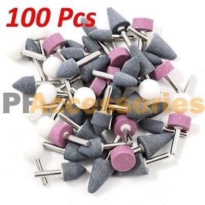 "100 Pcs 1/8"" inch Assorted Mounted Stone Point Abrasive Grinding Wheel Bit Set"