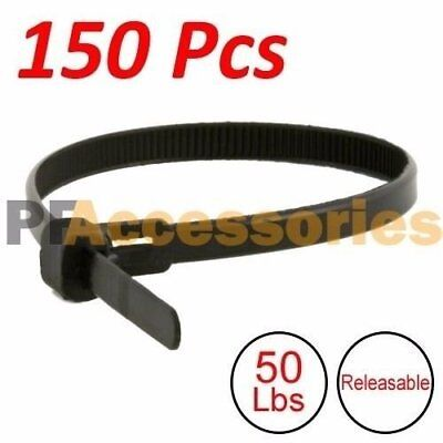 "150 Pcs 12"" inch Heavy Duty Releasable 50 Lbs Nylon Cable Zip Tie Black Wire"