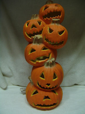 "Vintage Stacked Pumpkins 19"" Tall Blow Mold Halloween Yard Decor Free Shipping"